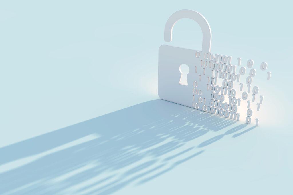 Datenschutz: Schloss das sich in Zahlen auflöst