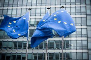 Drei Flaggen der Europäischen Union